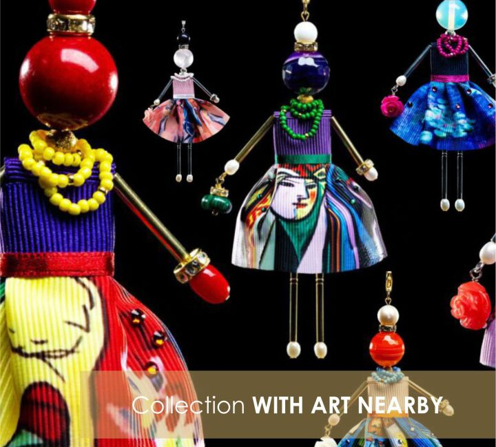 Bright collection of dolls-pendants of the Spanish brand SARANA based on the famous masterpieces of world art